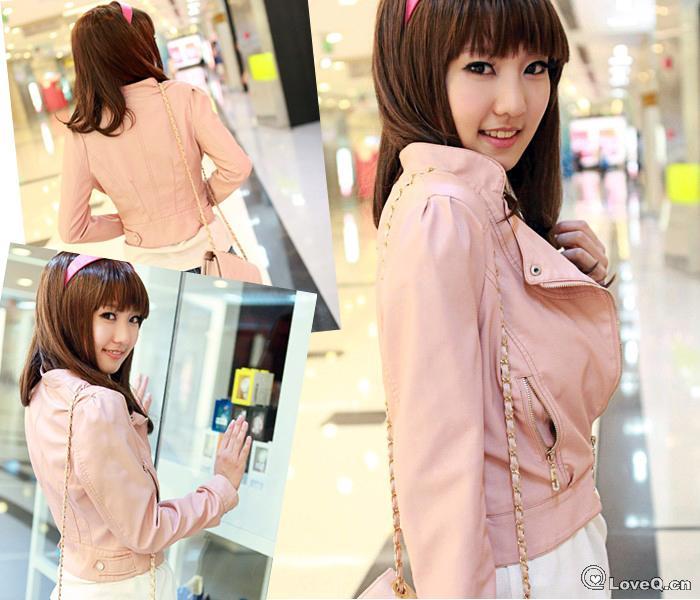 粉色皮衣短款怎么最